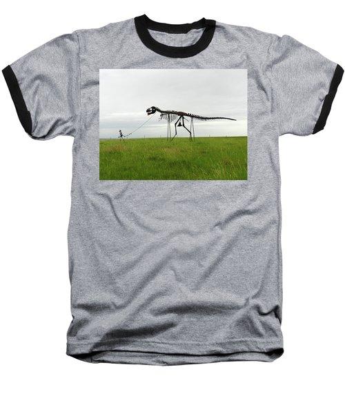 Skeletal Man Walking His Dinosaur Statue Baseball T-Shirt