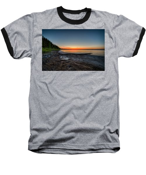 Baseball T-Shirt featuring the photograph Skeleton Lake Beach At Sunset by Darcy Michaelchuk