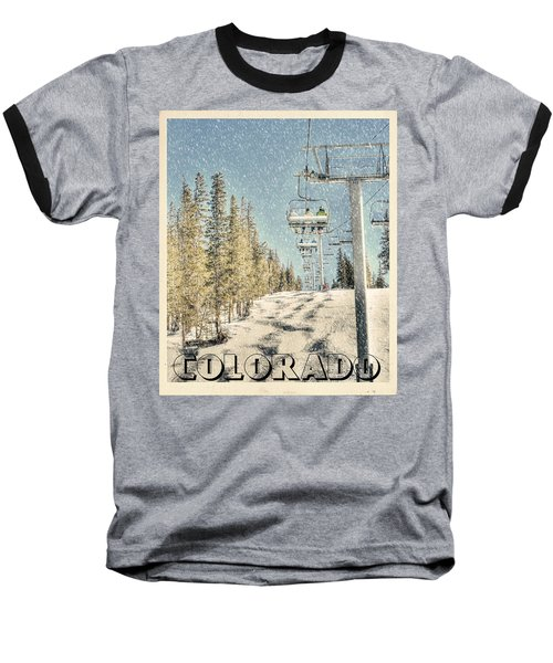 Ski Colorado Baseball T-Shirt by Juli Scalzi