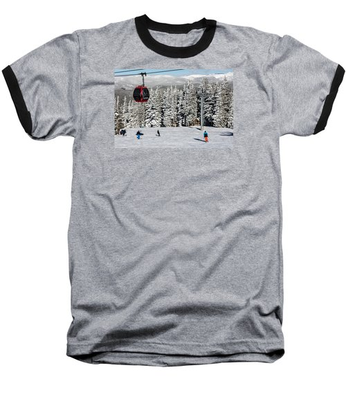 Skiers Limber Up Under A Gondola Near The Summit Of Aspen Mountain Baseball T-Shirt