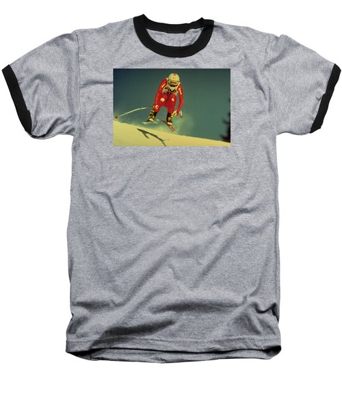 Skiing In Crans Montana Baseball T-Shirt by Travel Pics