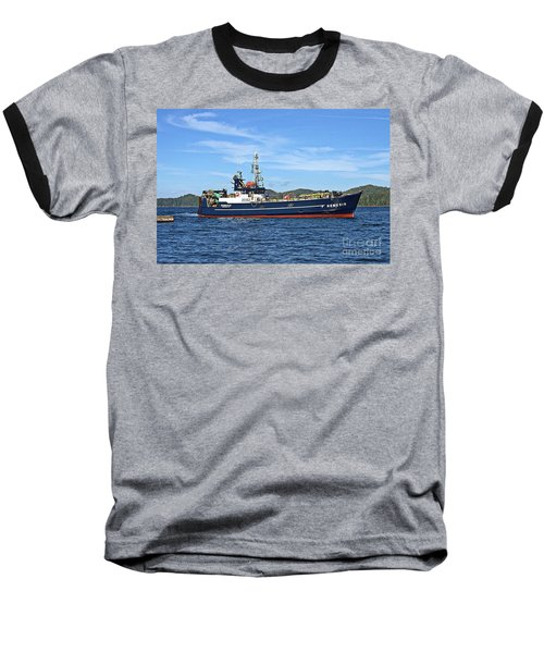 Skipper Kris At The Wheel Baseball T-Shirt