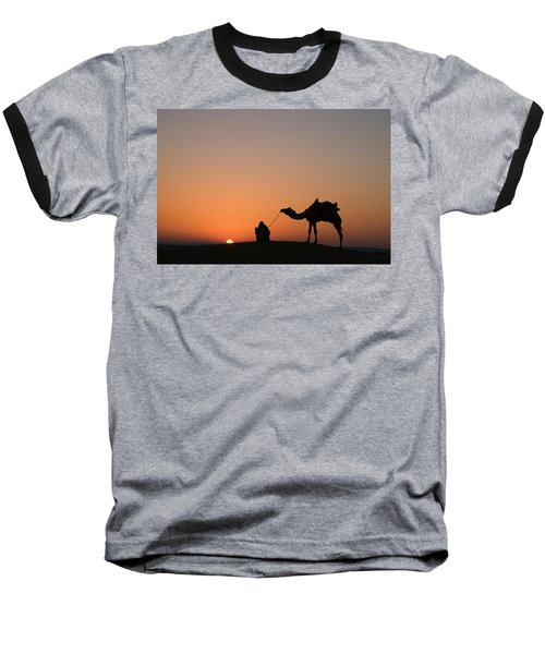 Skn 0870 Silhouette At Sunrise Baseball T-Shirt