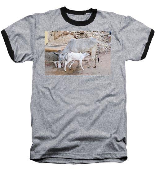 Skn 1654 Feeding Time Baseball T-Shirt by Sunil Kapadia