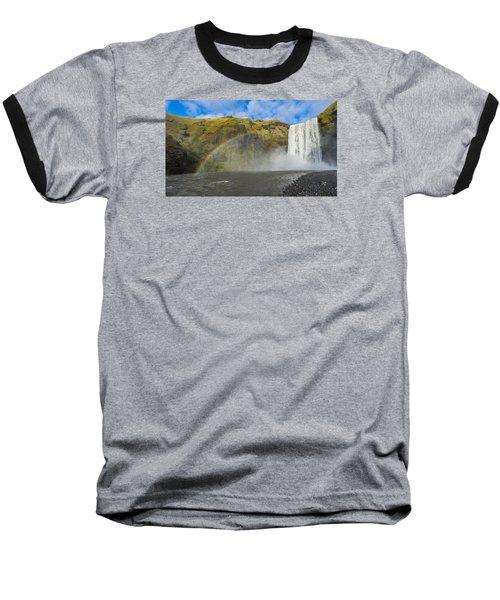 Skogafoss Rainbow Baseball T-Shirt