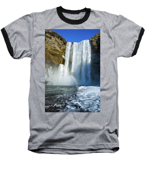 Baseball T-Shirt featuring the photograph Skogafoss Waterfall Iceland In Winter by Matthias Hauser
