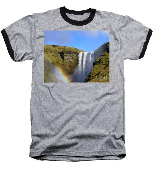 Skogafoss Waterfall With Rainbow 151 Baseball T-Shirt