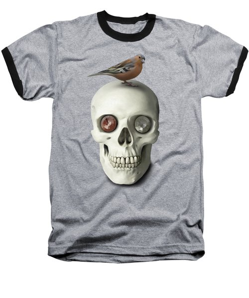 Skull And Bird Baseball T-Shirt by Ivana Westin