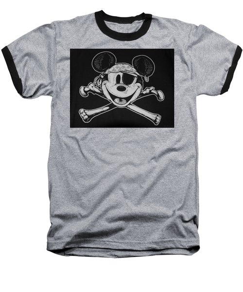 Skull And Bones Mickey  Baseball T-Shirt
