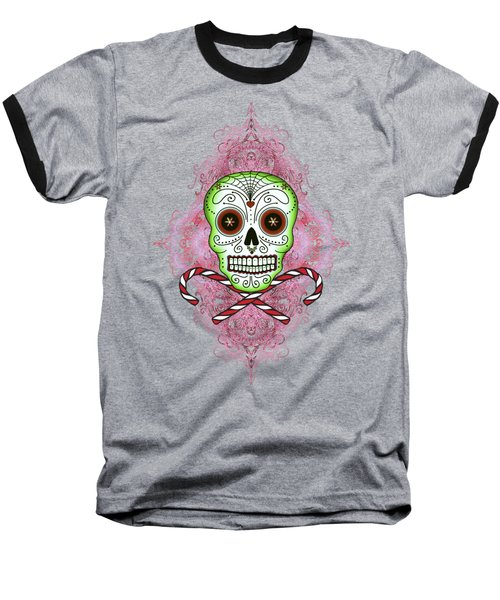 Skull And Candy Canes Baseball T-Shirt by Tammy Wetzel