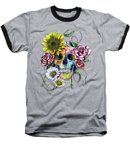 Skull And Flowers Baseball T-Shirt by Isabel Salvador