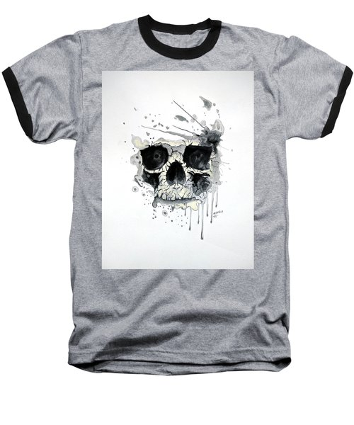 Baseball T-Shirt featuring the painting Skull by Edwin Alverio