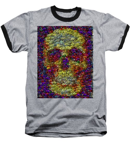Baseball T-Shirt featuring the mixed media Skull Eyeball Mosaic by Paul Van Scott