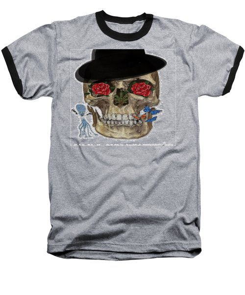 Skull In A Hat With Roses Baseball T-Shirt
