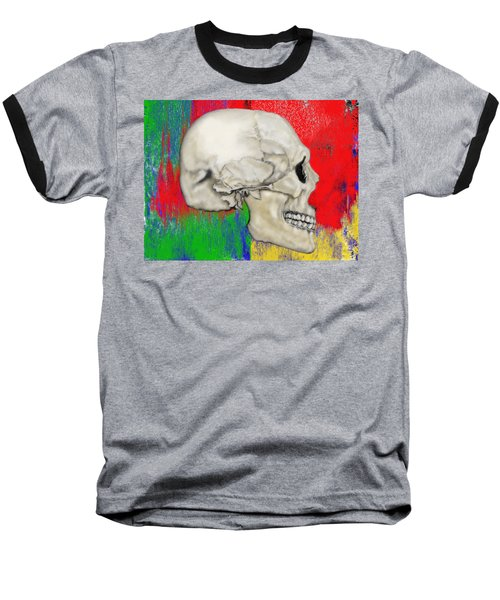 Skull In Primary Without Shape Baseball T-Shirt