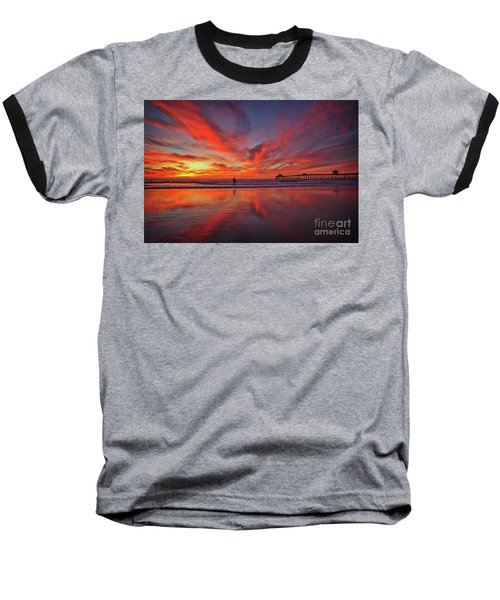 Sky On Fire At The Imperial Beach Pier Baseball T-Shirt