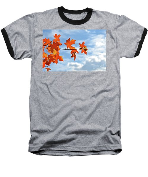 Sky View With Autumn Maple Leaves Baseball T-Shirt