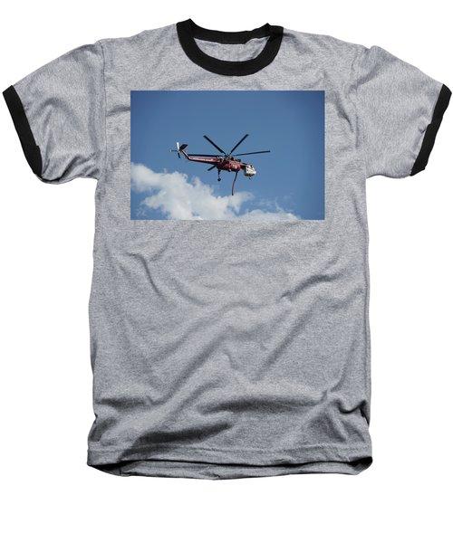 Skycrane Works The Red Canyon Fire Baseball T-Shirt by Bill Gabbert