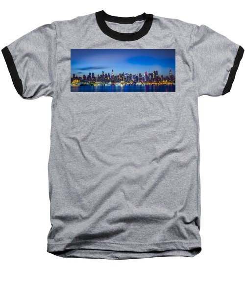 Skyline Nyc Before Sunrise Baseball T-Shirt