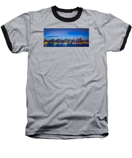 Skyline Nyc Before Sunrise Baseball T-Shirt