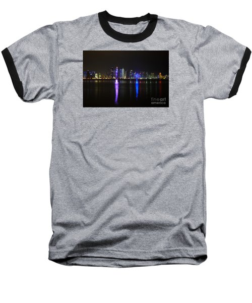 Skyline Of Doha, Qatar At Night Baseball T-Shirt