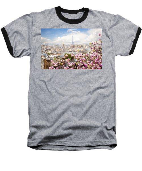 skyline of Paris with eiffel tower Baseball T-Shirt