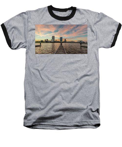 Baseball T-Shirt featuring the photograph Skyline Sunset by Randy Scherkenbach