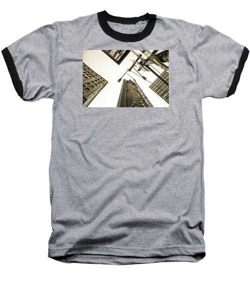Skyscrapers In New York Seen From Baseball T-Shirt by Perry Van Munster