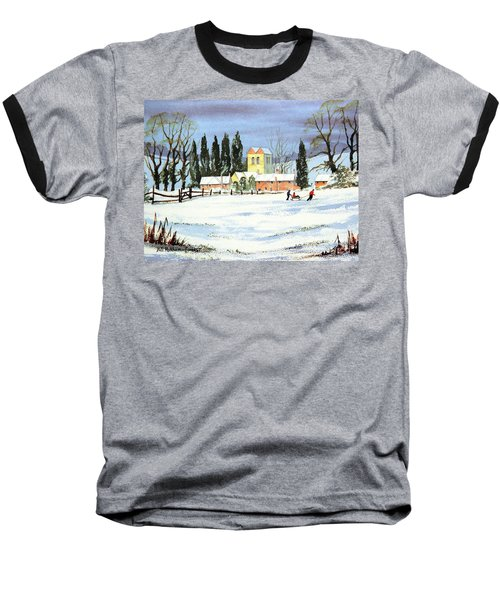 Baseball T-Shirt featuring the painting Sledding With Dad by Bill Holkham