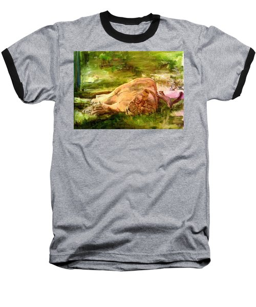 Sleeping Lionness Pushy Squirrel Baseball T-Shirt