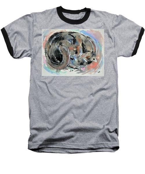 Baseball T-Shirt featuring the painting Sleeping Tortoiseshell Cat by Zaira Dzhaubaeva