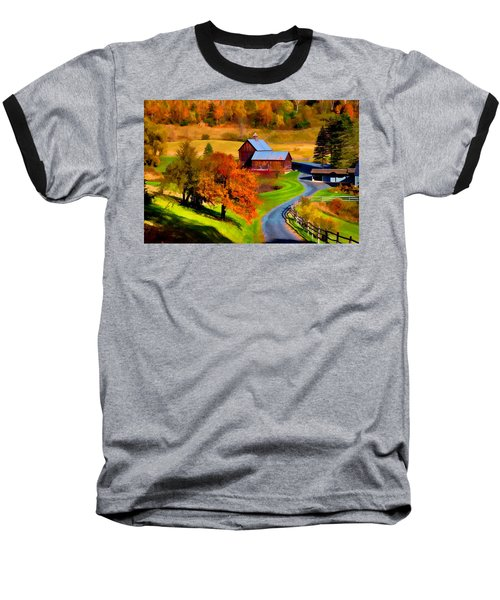 Digital Painting Of Sleepy Hollow Farm Baseball T-Shirt