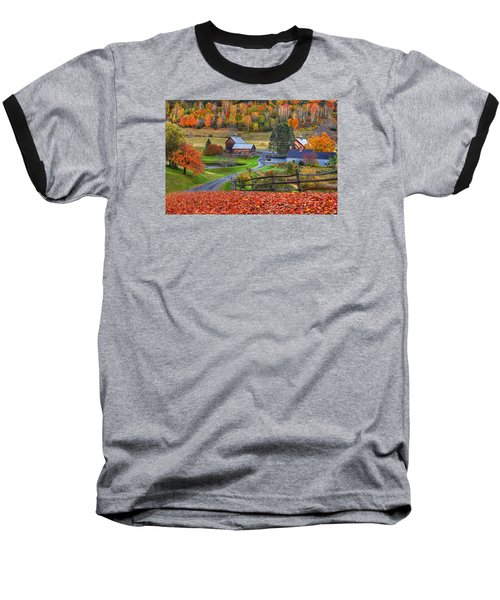 Sleepy Hollows Farm Woodstock Vermont Vt Autumn Bright Colors Baseball T-Shirt