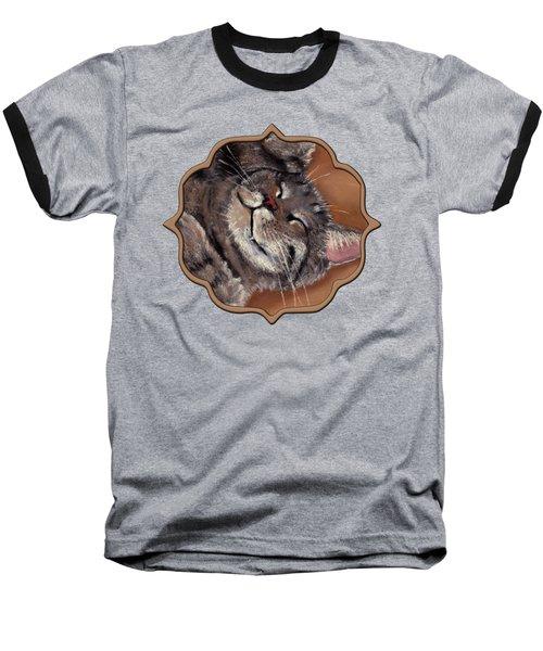 Sleepy Kitty Baseball T-Shirt by Anastasiya Malakhova
