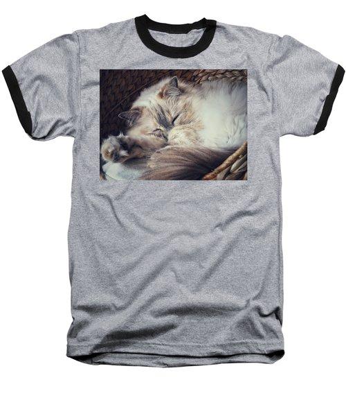 Sleepy Kitty Baseball T-Shirt by Karen Stahlros