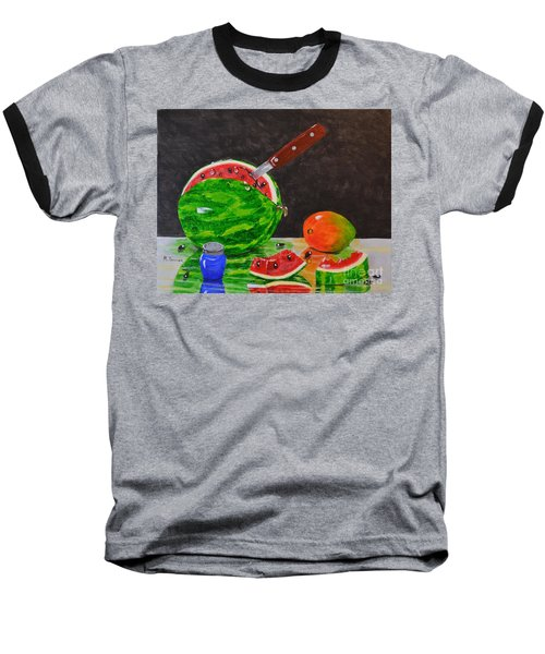 Sliced Melon Baseball T-Shirt by Melvin Turner