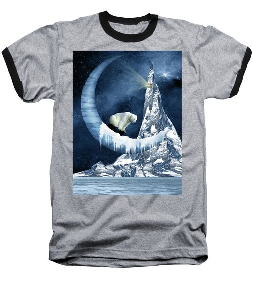 Sliding On The Moon Baseball T-Shirt by Mihaela Pater