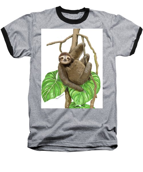 Sloth Hanging Around Baseball T-Shirt by Thomas J Herring