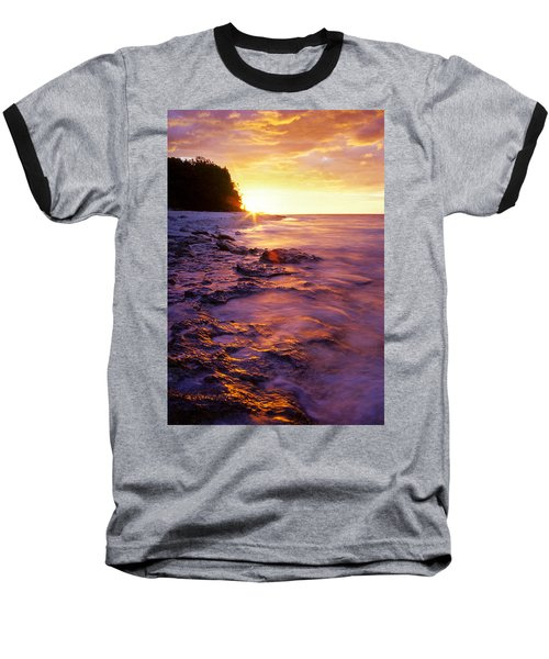 Slow Ocean Sunset Baseball T-Shirt