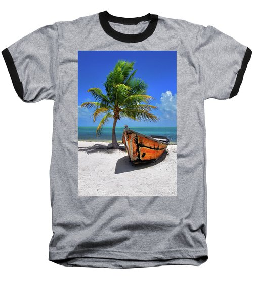 Small Boat And Palm Tree On White Sandy Beach In The Florida Keys Baseball T-Shirt