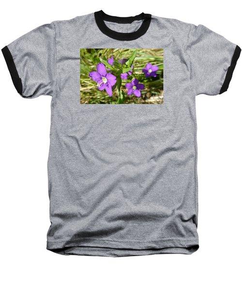 Baseball T-Shirt featuring the photograph Small Mauve Flowers by Jean Bernard Roussilhe