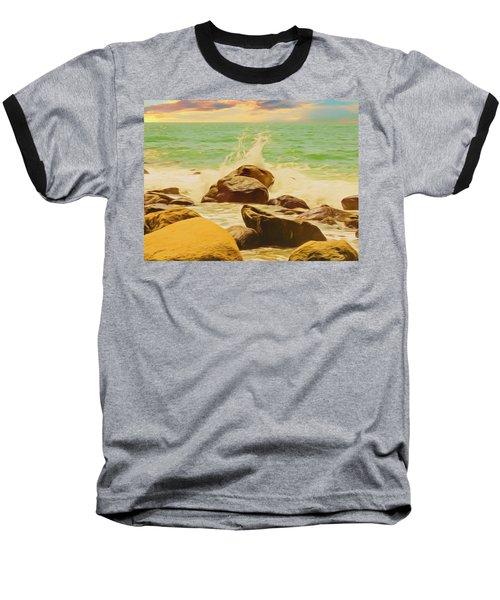 Small Ocean Waves,large Rocks. Baseball T-Shirt