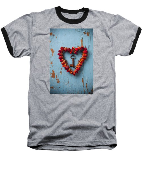 Small Rose Heart Wreath With Key Baseball T-Shirt by Garry Gay