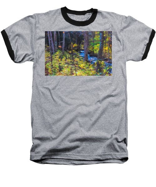 Small Stream Through Autumn Woods Baseball T-Shirt