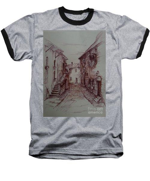 Small Town Drawing Baseball T-Shirt by Maja Sokolowska