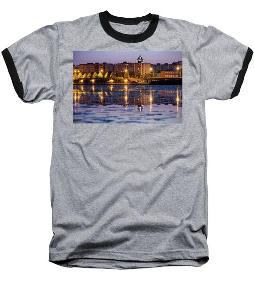 Small Town Skyline Baseball T-Shirt by Teemu Tretjakov