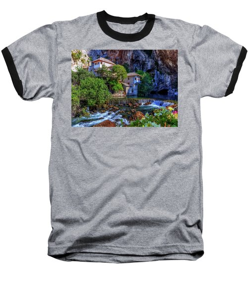 Small Village Blagaj On Buna Waterfall, Bosnia And Herzegovina Baseball T-Shirt by Elenarts - Elena Duvernay photo