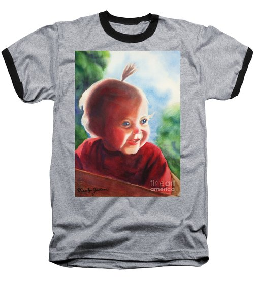 Smile Baseball T-Shirt by Marilyn Jacobson