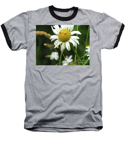 Smiley Face Ox-nose Daisy Baseball T-Shirt by Sean Griffin