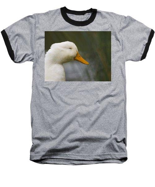 Smiling Pekin Duck Baseball T-Shirt by Tara Lynn